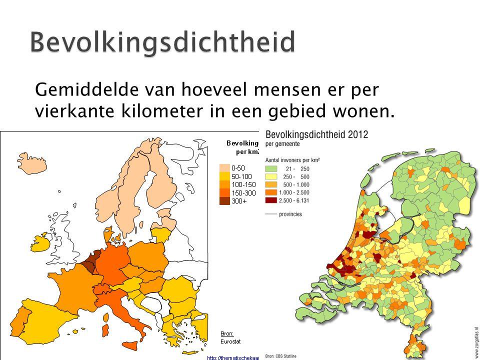 Gemiddelde van hoeveel mensen er per vierkante kilometer in een gebied wonen.