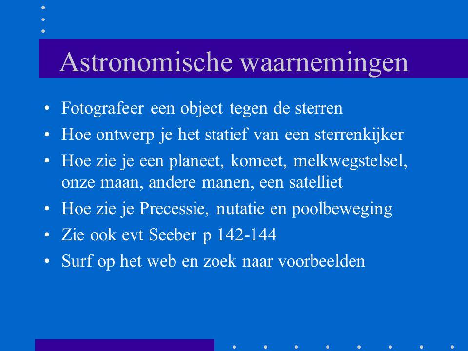 Astronomische waarnemingen Fotografeer een object tegen de sterren Hoe ontwerp je het statief van een sterrenkijker Hoe zie je een planeet, komeet, me