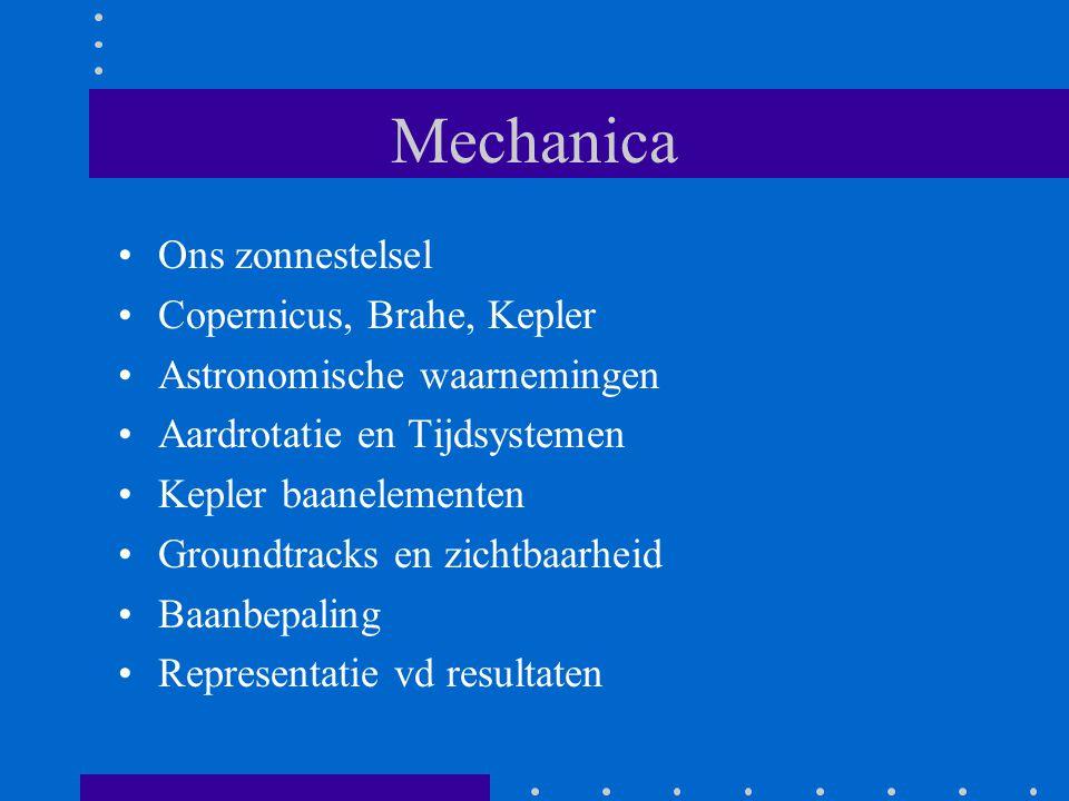 Mechanica Ons zonnestelsel Copernicus, Brahe, Kepler Astronomische waarnemingen Aardrotatie en Tijdsystemen Kepler baanelementen Groundtracks en zicht