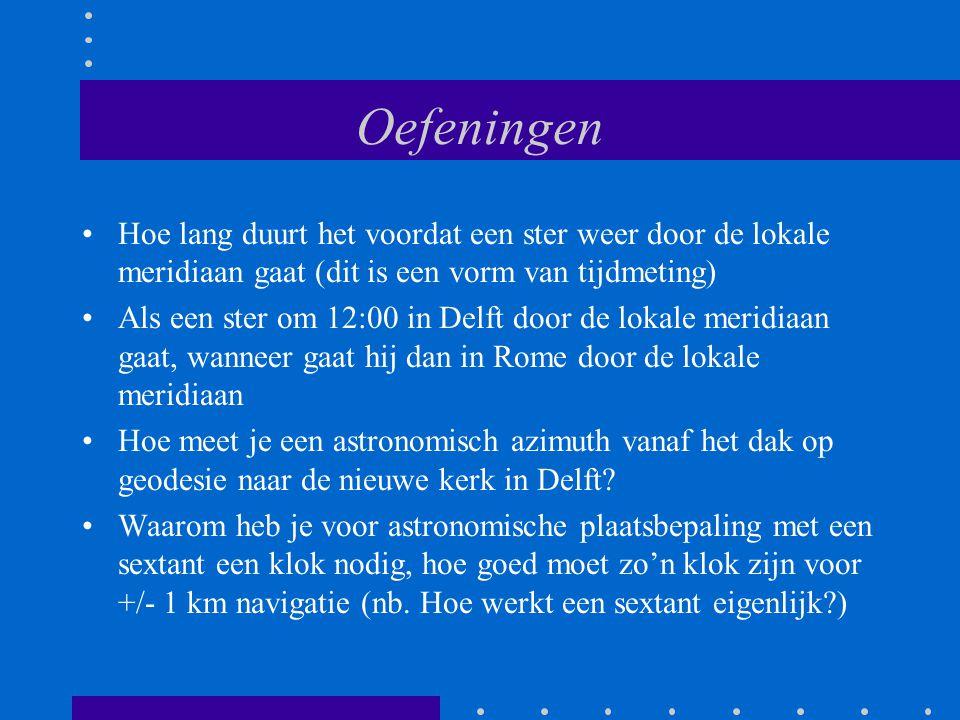 Oefeningen Hoe lang duurt het voordat een ster weer door de lokale meridiaan gaat (dit is een vorm van tijdmeting) Als een ster om 12:00 in Delft door