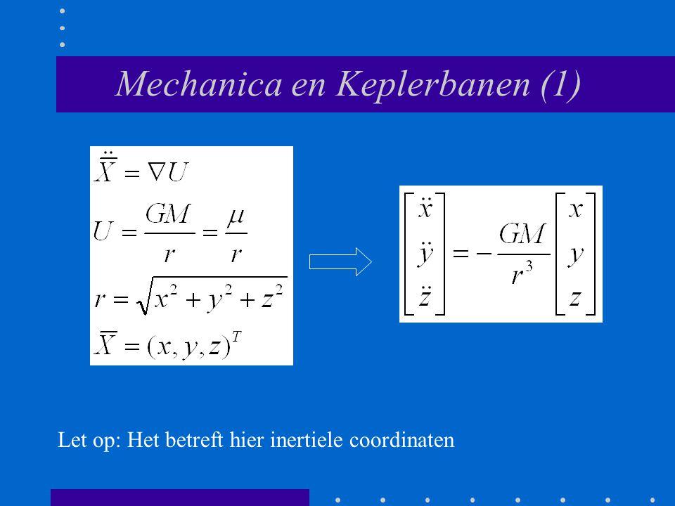 Mechanica en Keplerbanen (1) Let op: Het betreft hier inertiele coordinaten