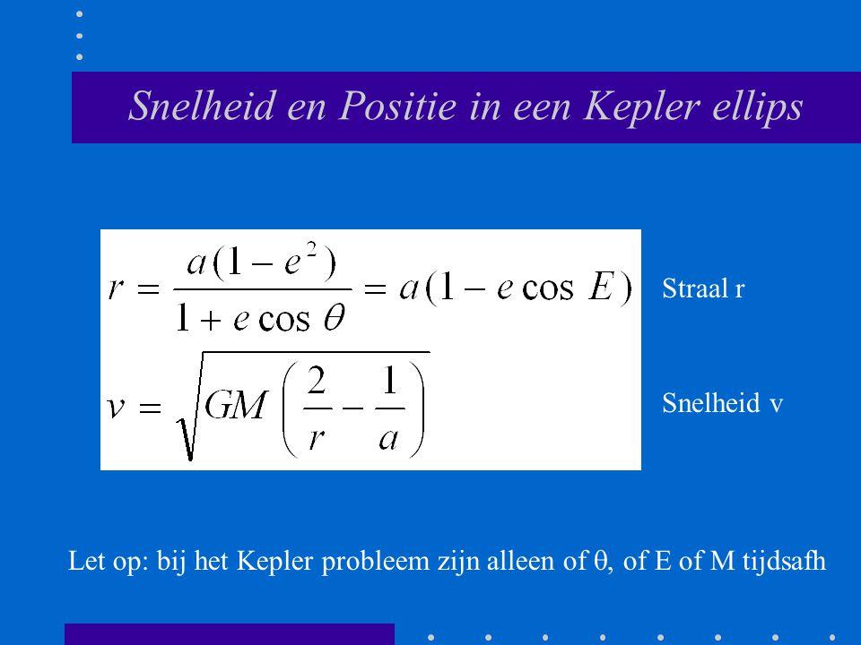 Snelheid en Positie in een Kepler ellips Straal r Snelheid v Let op: bij het Kepler probleem zijn alleen of , of E of M tijdsafh