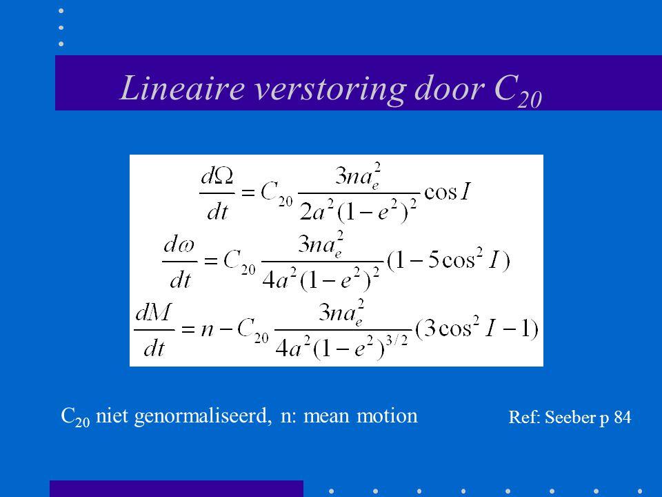 Lineaire verstoring door C 20 Ref: Seeber p 84 C 20 niet genormaliseerd, n: mean motion