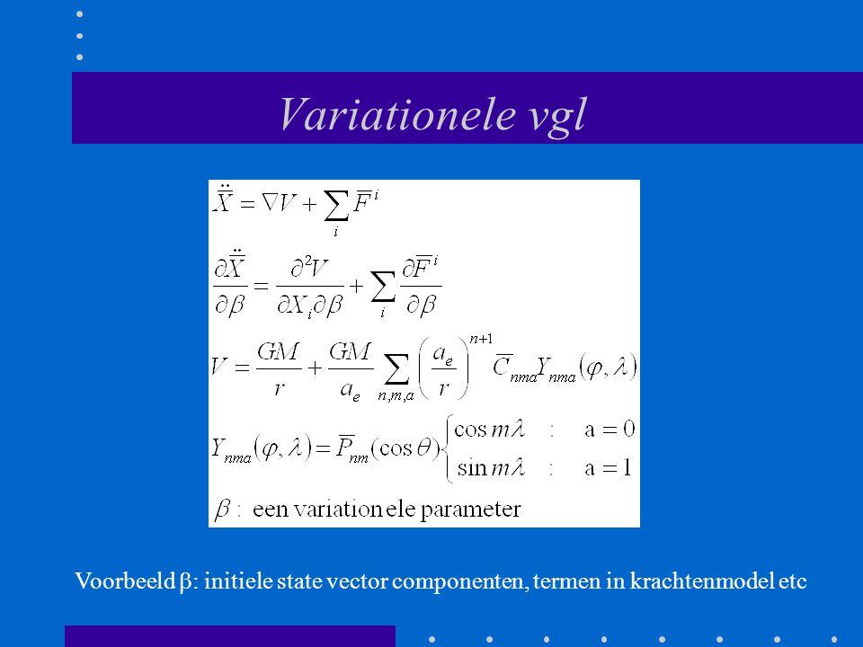 Variationele vgl Voorbeeld  : initiele state vector componenten, termen in krachtenmodel etc