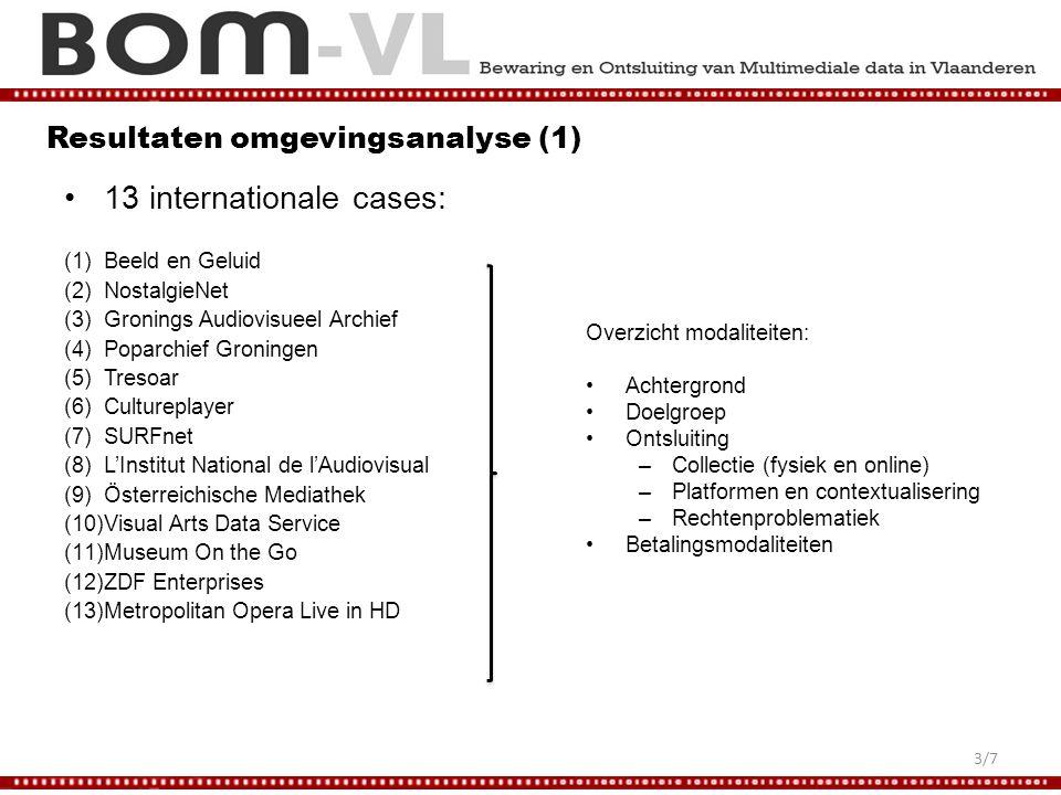 Resultaten omgevingsanalyse (1) 13 internationale cases: (1)Beeld en Geluid (2)NostalgieNet (3)Gronings Audiovisueel Archief (4)Poparchief Groningen (5)Tresoar (6)Cultureplayer (7)SURFnet (8)L'Institut National de l'Audiovisual (9)Österreichische Mediathek (10)Visual Arts Data Service (11)Museum On the Go (12)ZDF Enterprises (13)Metropolitan Opera Live in HD Overzicht modaliteiten: Achtergrond Doelgroep Ontsluiting –Collectie (fysiek en online) –Platformen en contextualisering –Rechtenproblematiek Betalingsmodaliteiten 3/7