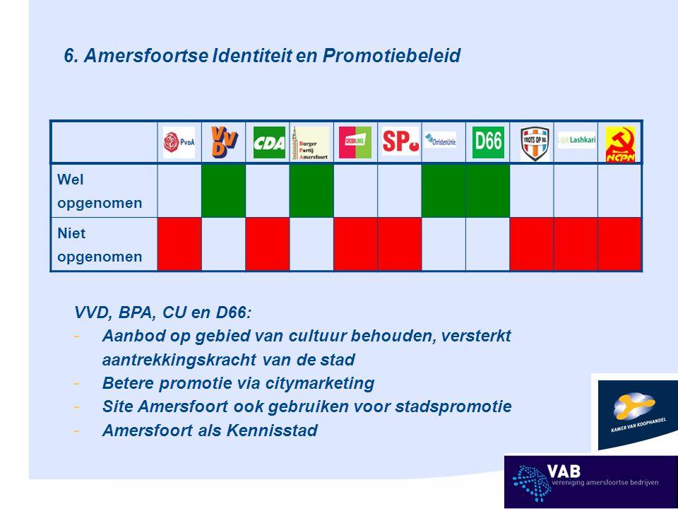 6. Amersfoortse Identiteit en Promotiebeleid Wel opgenomen Niet opgenomen VVD, BPA, CU en D66: - Aanbod op gebied van cultuur behouden, versterkt aant