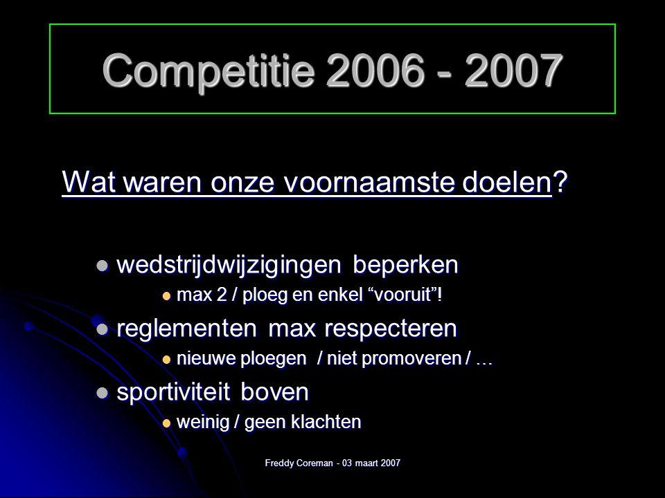 Freddy Coreman - 03 maart 2007 Competitie 2006 - 2007 Wat kan er nog beter.