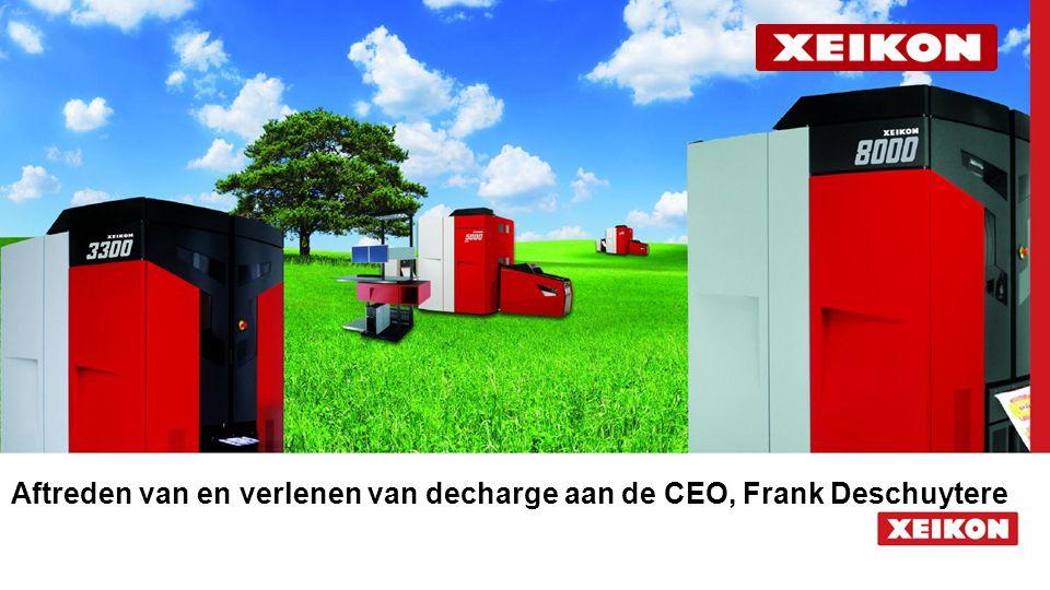 Aftreden van en verlenen van decharge aan de CEO, Frank Deschuytere