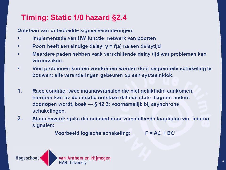 HAN-University 8 Timing: Static 1/0 hazard §2.4 Ontstaan van onbedoelde signaalveranderingen: Implementatie van HW functie: netwerk van poorten Poort