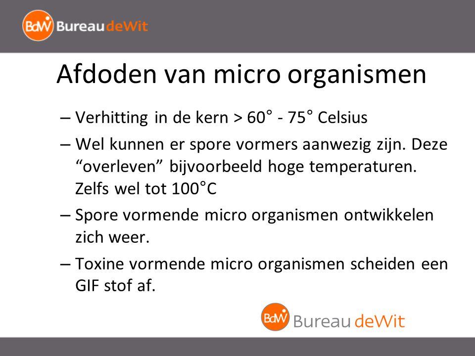 Afdoden van micro organismen – Verhitting in de kern > 60° - 75° Celsius – Wel kunnen er spore vormers aanwezig zijn.
