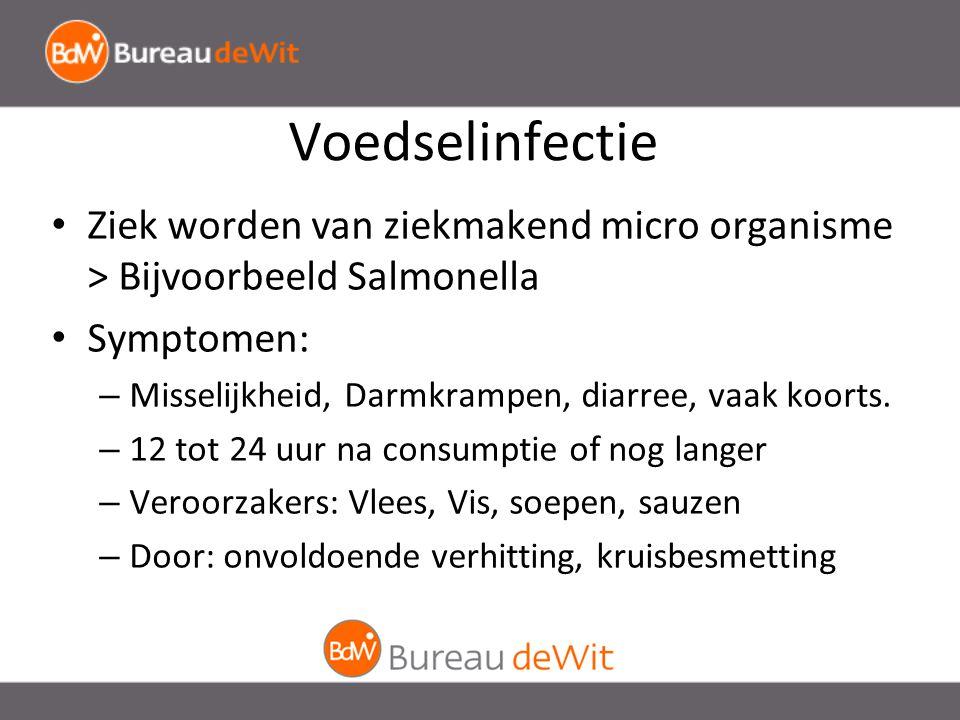 Voedselinfectie Ziek worden van ziekmakend micro organisme > Bijvoorbeeld Salmonella Symptomen: – Misselijkheid, Darmkrampen, diarree, vaak koorts.