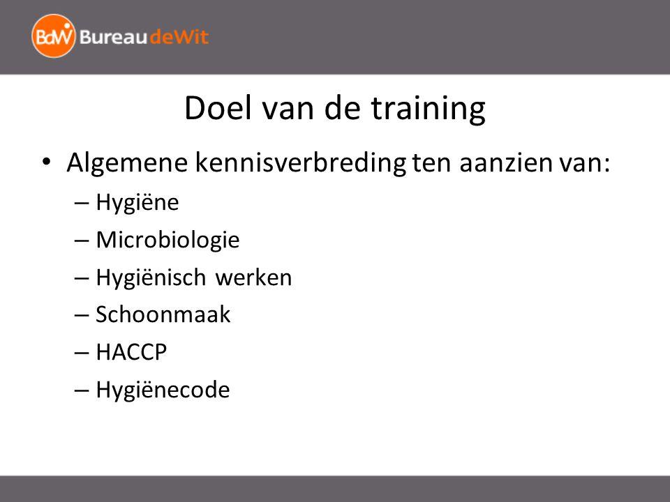 Doel van de training Algemene kennisverbreding ten aanzien van: – Hygiëne – Microbiologie – Hygiënisch werken – Schoonmaak – HACCP – Hygiënecode