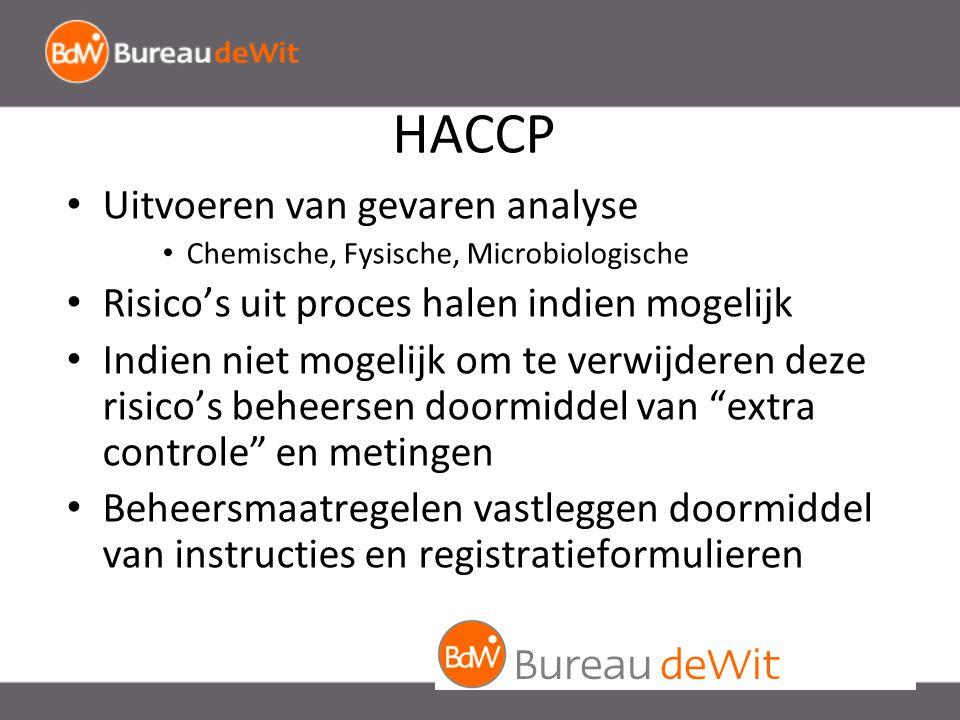HACCP Uitvoeren van gevaren analyse Chemische, Fysische, Microbiologische Risico's uit proces halen indien mogelijk Indien niet mogelijk om te verwijderen deze risico's beheersen doormiddel van extra controle en metingen Beheersmaatregelen vastleggen doormiddel van instructies en registratieformulieren