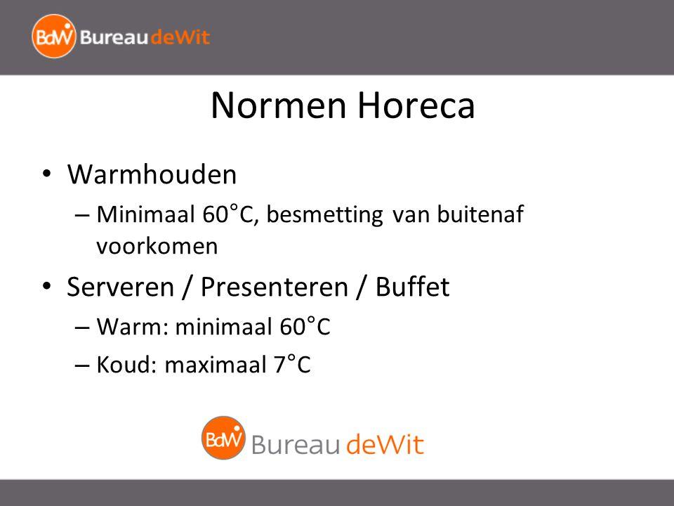 Normen Horeca Warmhouden – Minimaal 60°C, besmetting van buitenaf voorkomen Serveren / Presenteren / Buffet – Warm: minimaal 60°C – Koud: maximaal 7°C