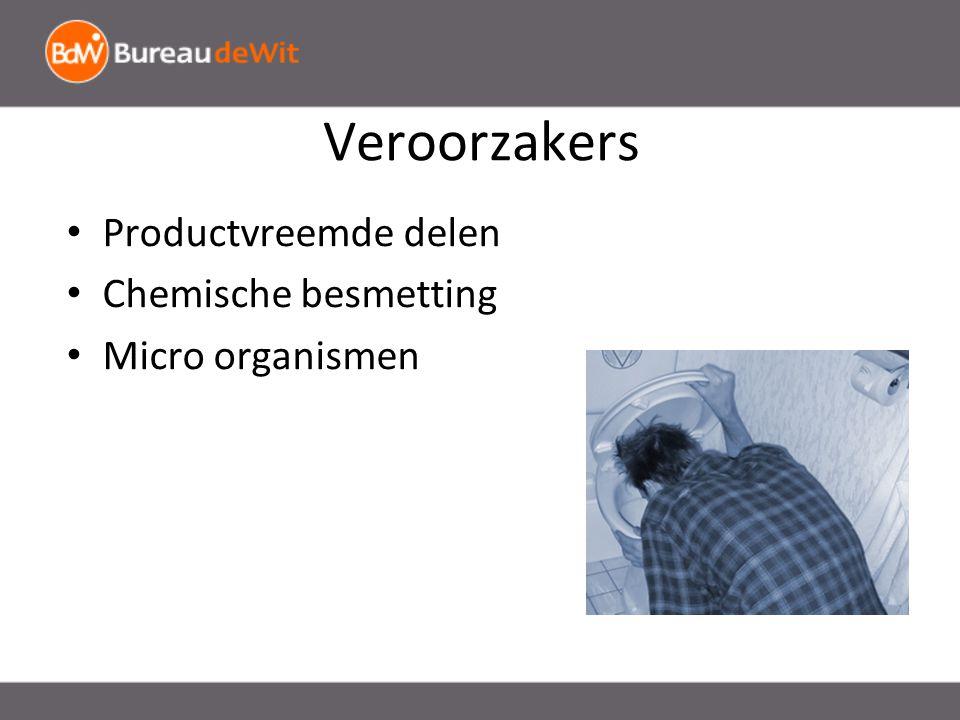 Veroorzakers Productvreemde delen Chemische besmetting Micro organismen