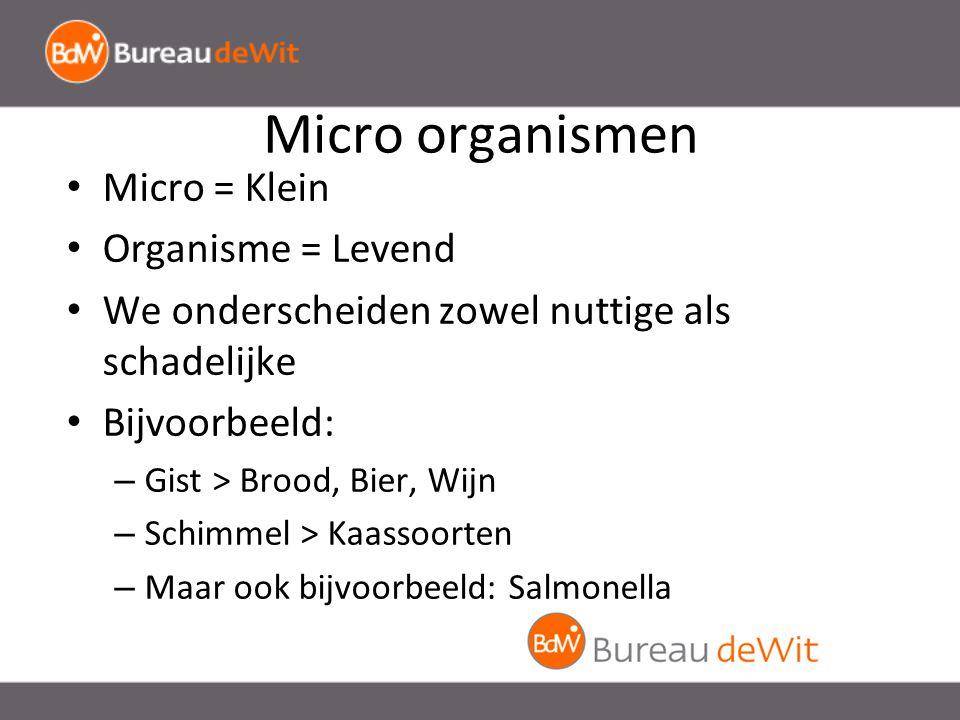 Micro organismen Micro = Klein Organisme = Levend We onderscheiden zowel nuttige als schadelijke Bijvoorbeeld: – Gist > Brood, Bier, Wijn – Schimmel > Kaassoorten – Maar ook bijvoorbeeld: Salmonella