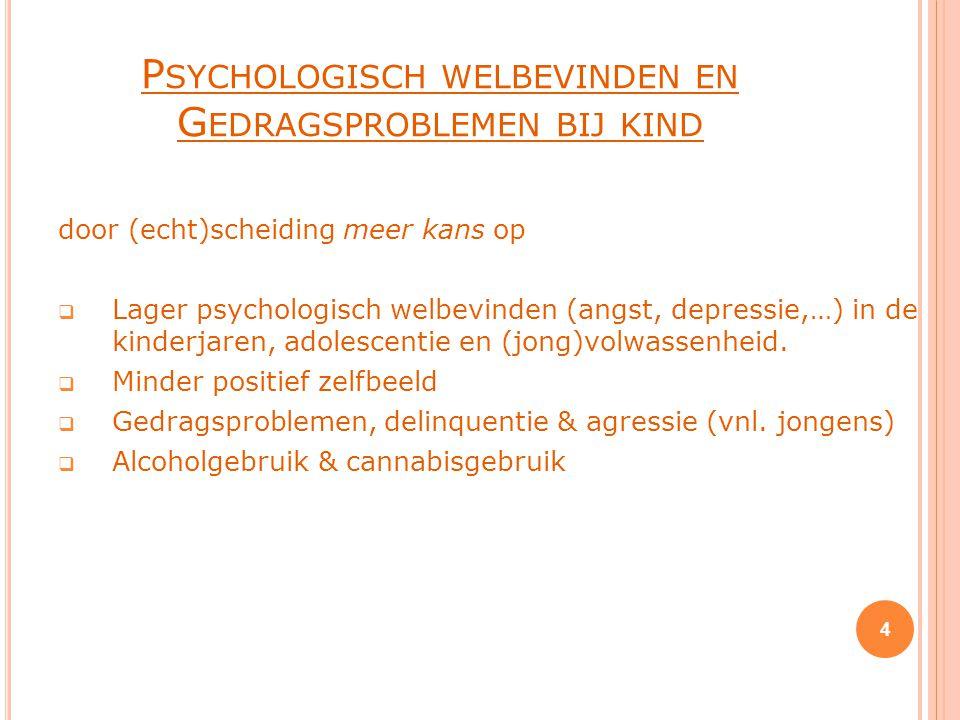 P SYCHOLOGISCH WELBEVINDEN EN G EDRAGSPROBLEMEN BIJ KIND door (echt)scheiding meer kans op  Lager psychologisch welbevinden (angst, depressie,…) in d