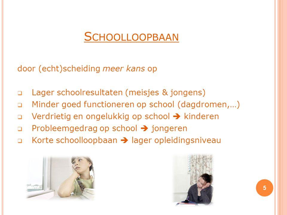 S CHOOLLOOPBAAN door (echt)scheiding meer kans op  Lager schoolresultaten (meisjes & jongens)  Minder goed functioneren op school (dagdromen,…)  Ve