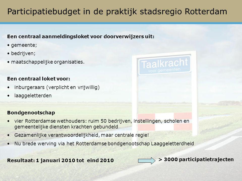 Participatiebudget in de praktijk stadsregio Rotterdam Een centraal aanmeldingsloket voor doorverwijzers uit: gemeente; bedrijven; maatschappelijke organisaties.