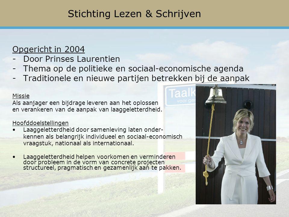 Opgericht in 2004 -Door Prinses Laurentien -Thema op de politieke en sociaal-economische agenda -Traditionele en nieuwe partijen betrekken bij de aanpak Missie Als aanjager een bijdrage leveren aan het oplossen en verankeren van de aanpak van laaggeletterdheid.