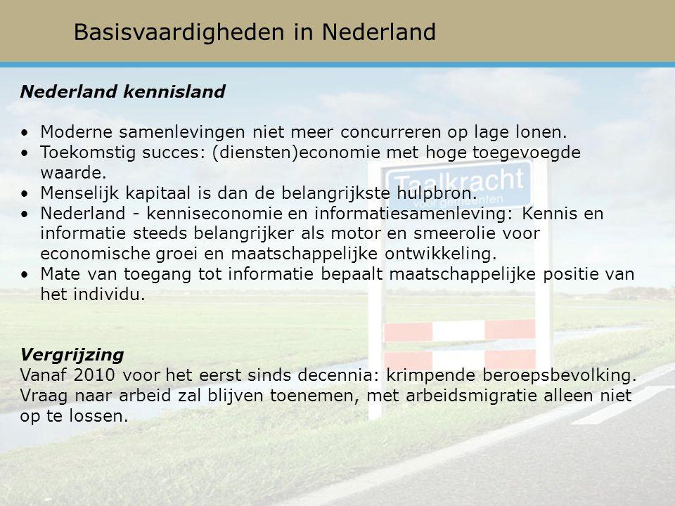 Basisvaardigheden in Nederland Nederland kennisland Moderne samenlevingen niet meer concurreren op lage lonen.