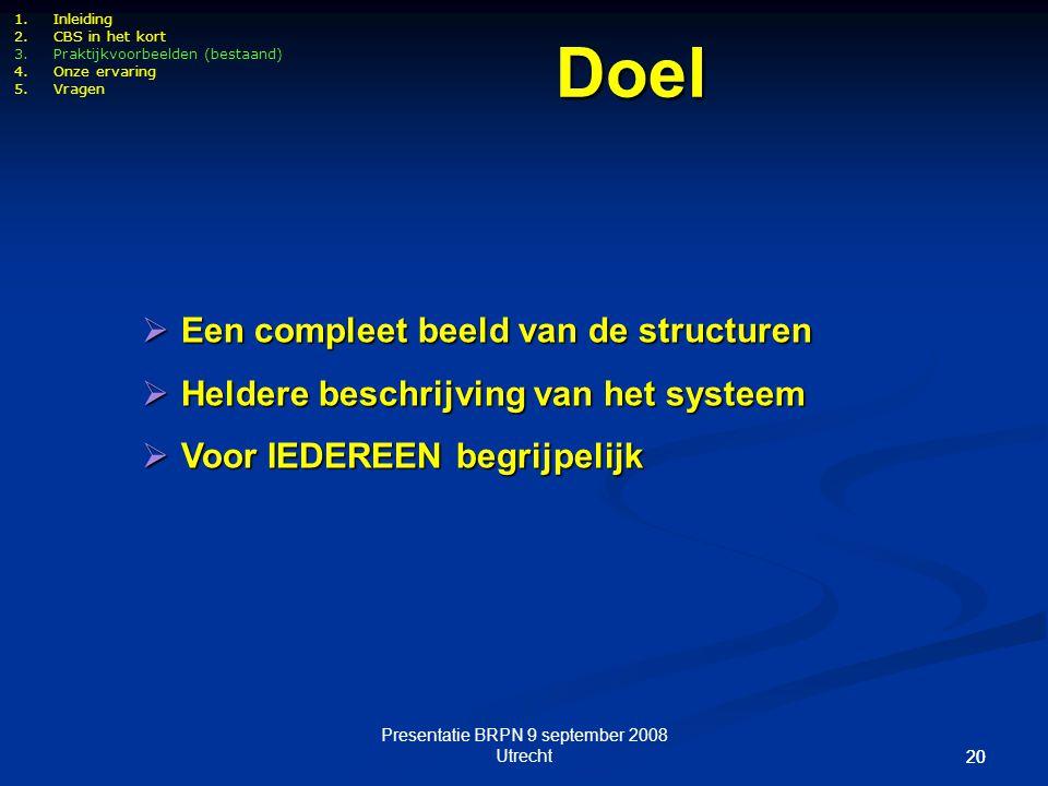 Presentatie BRPN 9 september 2008 Utrecht 20 1.Inleiding 2.CBS in het kort 3.Praktijkvoorbeelden (bestaand) 4.Onze ervaring 5.Vragen  Een compleet be