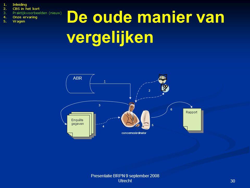Presentatie BRPN 9 september 2008 Utrecht 30 concerncoördinator ABR 1 2 5 Rapport 6 4 Enquête gegeven 3 De oude manier van vergelijken 1.Inleiding 2.C