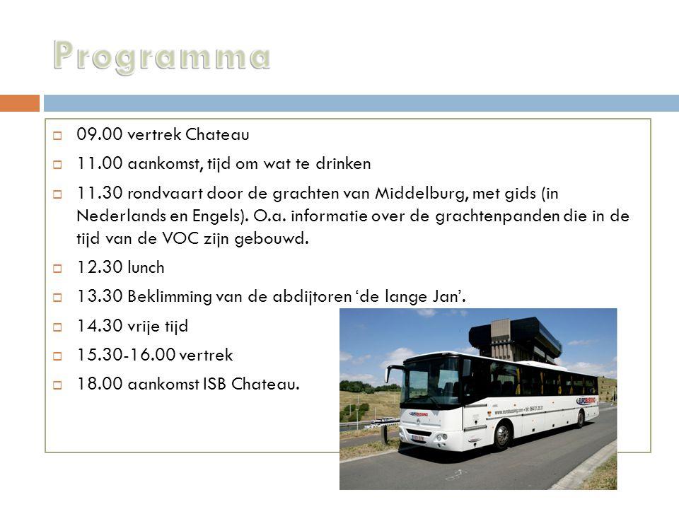  09.00 vertrek Chateau  11.00 aankomst, tijd om wat te drinken  11.30 rondvaart door de grachten van Middelburg, met gids (in Nederlands en Engels).