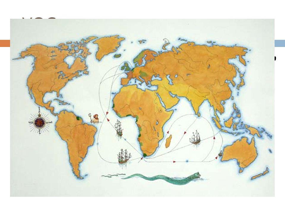 VOC  Verenigde Oost-Indische Compagnie  1595 en 1795  4800 reizen naar Azië  Kopen, verkopen en ruilen  Rijkste land ter wereld – De Gouden Eeuw  Amsterdam, Zeeland (Middelburg), Rotterdam, Delft, Hoorn en Enkhuizen