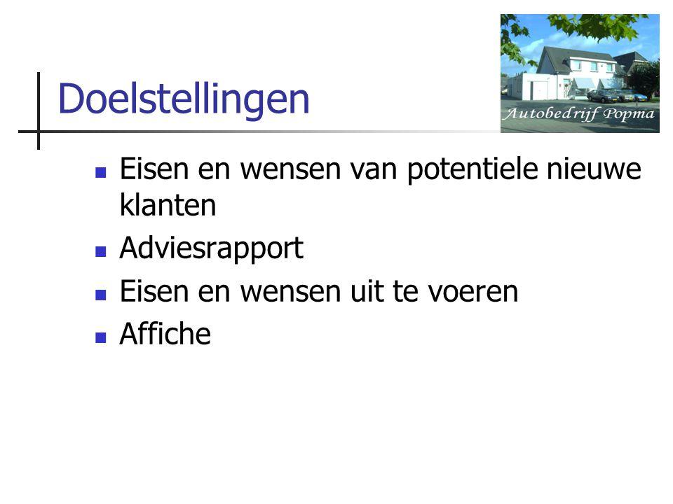 Doelstellingen Eisen en wensen van potentiele nieuwe klanten Adviesrapport Eisen en wensen uit te voeren Affiche