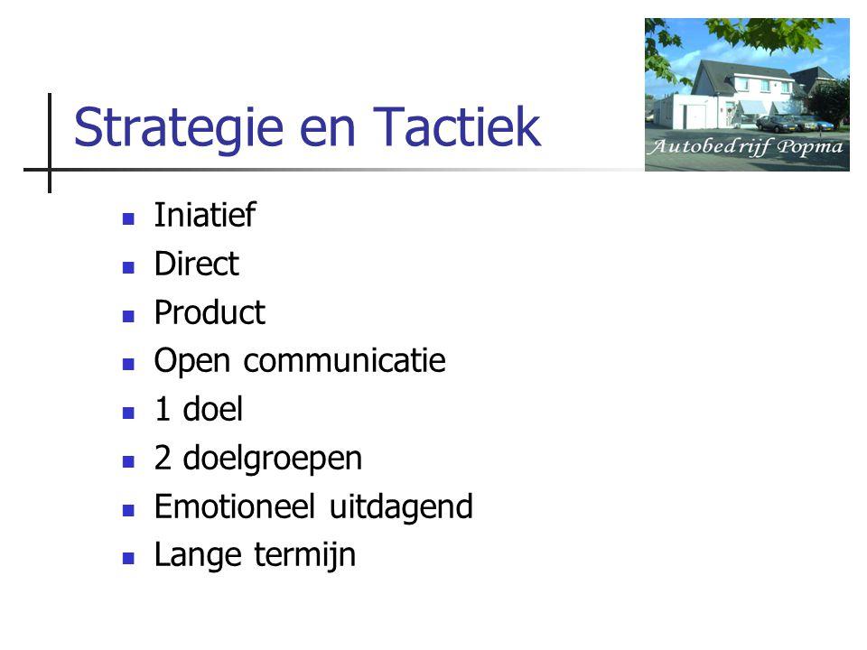 Strategie en Tactiek Iniatief Direct Product Open communicatie 1 doel 2 doelgroepen Emotioneel uitdagend Lange termijn