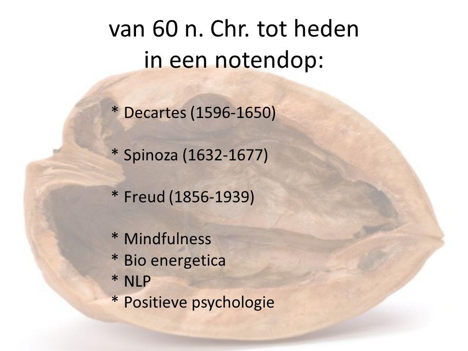 van 60 n. Chr. tot heden in een notendop: * Decartes (1596-1650) * Spinoza (1632-1677) * Freud (1856-1939) * Mindfulness * Bio energetica * NLP * Posi