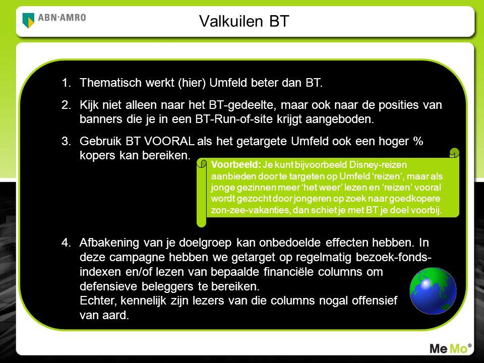 Valkuilen BT 1.Thematisch werkt (hier) Umfeld beter dan BT.