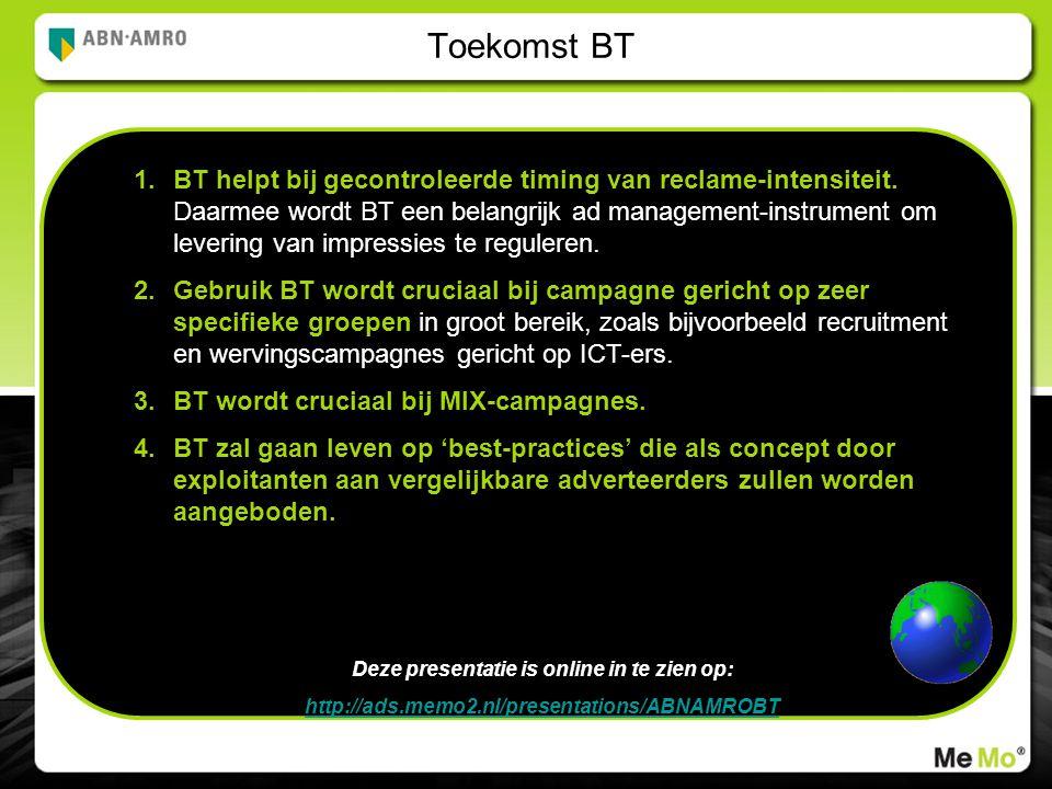Toekomst BT 1.BT helpt bij gecontroleerde timing van reclame-intensiteit.