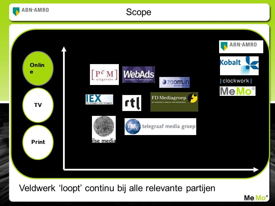 Scope Onlin e Veldwerk 'loopt' continu bij alle relevante partijen TV Print