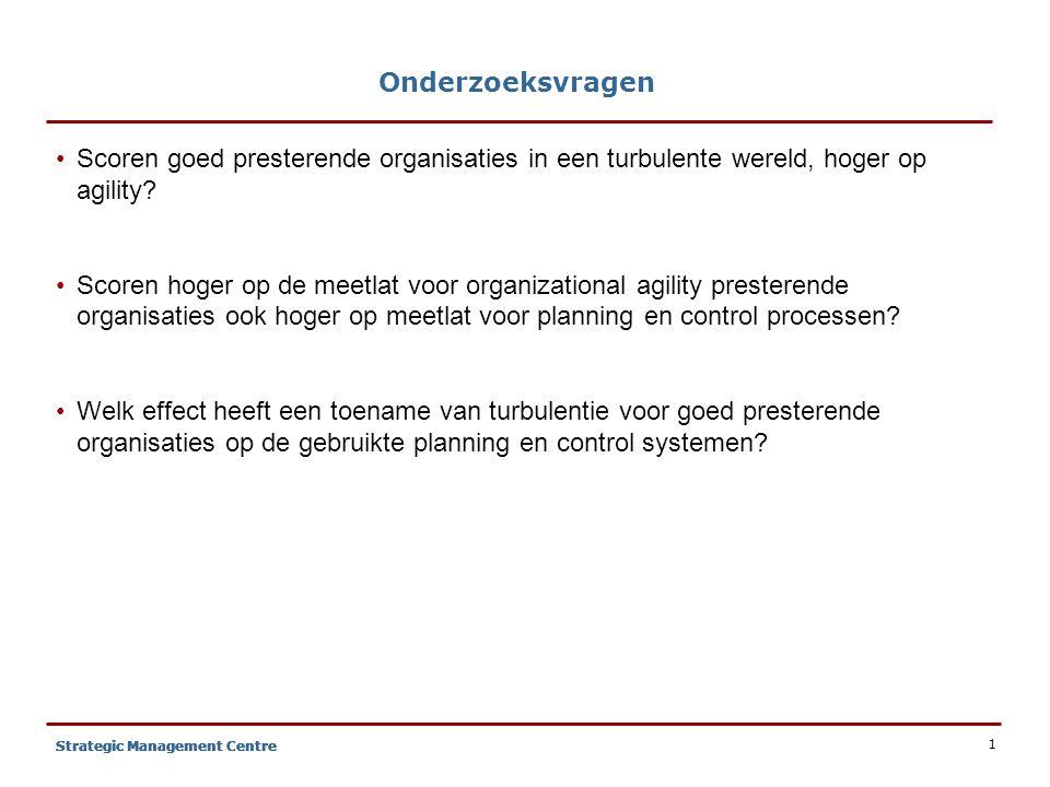 1 Strategic Management Centre Onderzoeksvragen Scoren goed presterende organisaties in een turbulente wereld, hoger op agility.