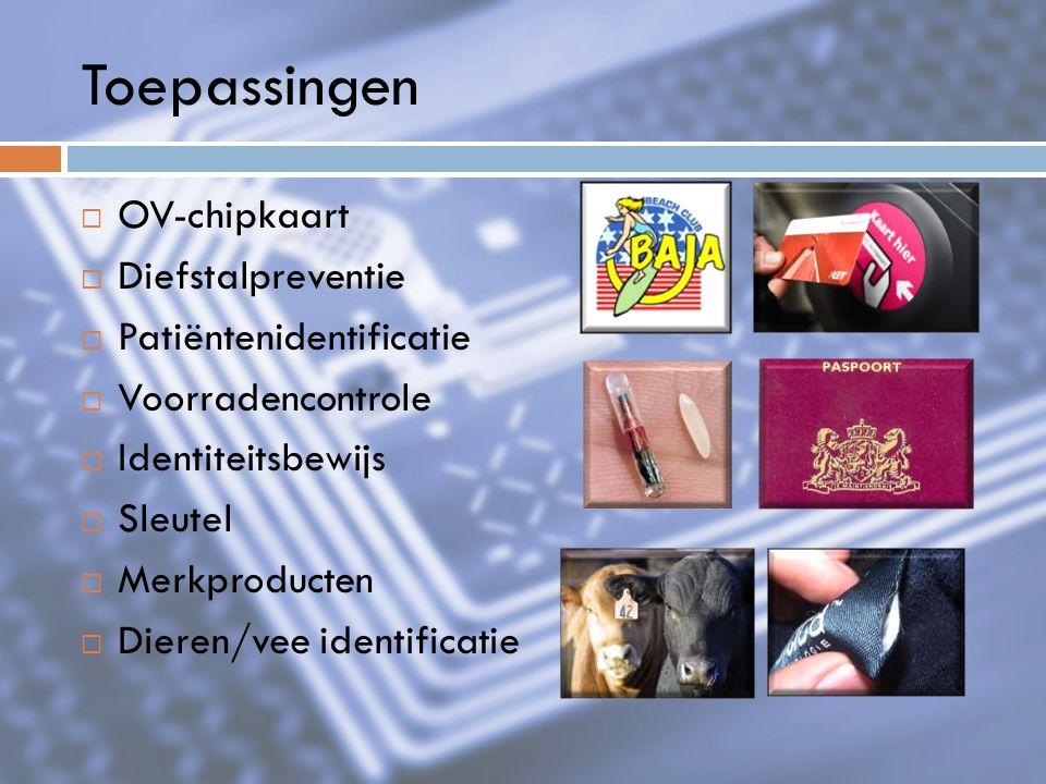 Toepassingen  OV-chipkaart  Diefstalpreventie  Patiëntenidentificatie  Voorradencontrole  Identiteitsbewijs  Sleutel  Merkproducten  Dieren/ve