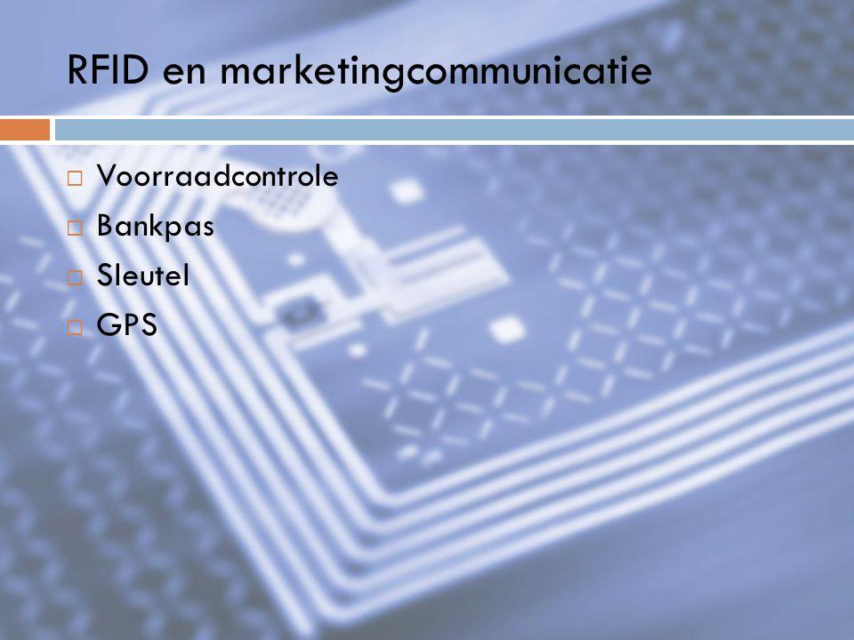 RFID en marketingcommunicatie  Voorraadcontrole  Bankpas  Sleutel  GPS