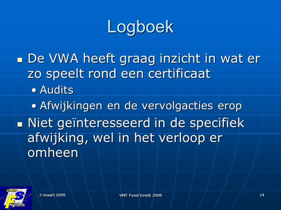 3 maart 2009 VMT Food Event 2009 14 Logboek De VWA heeft graag inzicht in wat er zo speelt rond een certificaat De VWA heeft graag inzicht in wat er z