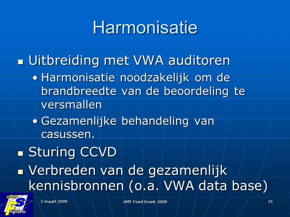 3 maart 2009 VMT Food Event 2009 15 Harmonisatie Uitbreiding met VWA auditoren Uitbreiding met VWA auditoren Harmonisatie noodzakelijk om de brandbree