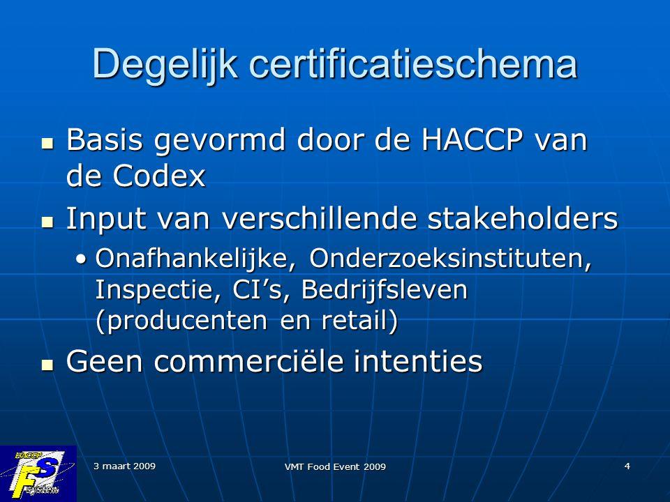 3 maart 2009 VMT Food Event 2009 4 Degelijk certificatieschema Basis gevormd door de HACCP van de Codex Basis gevormd door de HACCP van de Codex Input