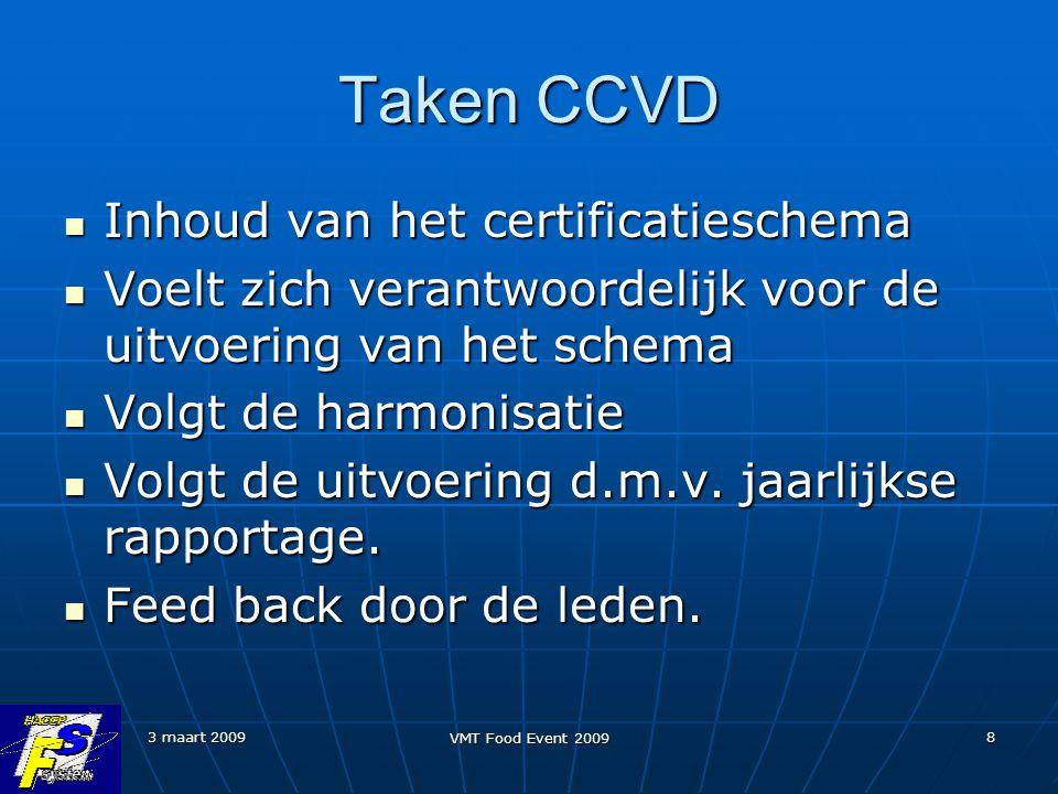 3 maart 2009 VMT Food Event 2009 8 Taken CCVD Inhoud van het certificatieschema Inhoud van het certificatieschema Voelt zich verantwoordelijk voor de