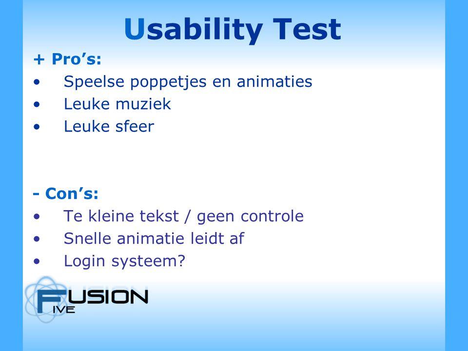 Usability Test + Pro's: Speelse poppetjes en animaties Leuke muziek Leuke sfeer - Con's: Te kleine tekst / geen controle Snelle animatie leidt af Login systeem