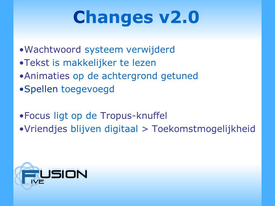 Changes v2.0 Wachtwoord systeem verwijderd Tekst is makkelijker te lezen Animaties op de achtergrond getuned Spellen toegevoegd Focus ligt op de Tropus-knuffel Vriendjes blijven digitaal > Toekomstmogelijkheid