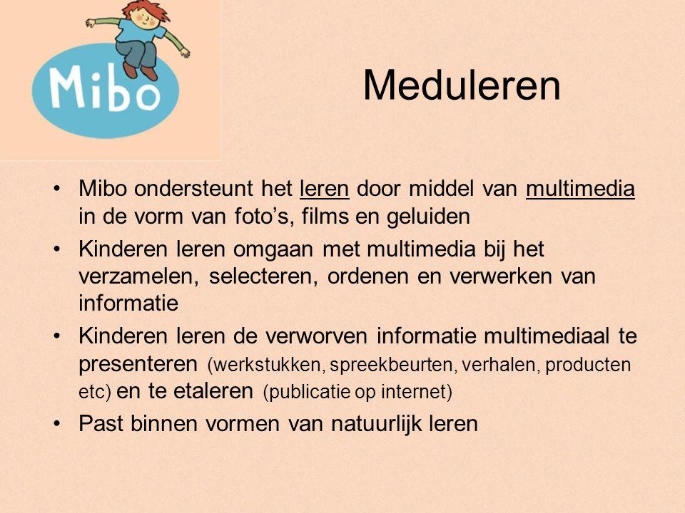 Meduleren Mibo heeft een sterke inhoudelijke en didactische band met andere multimediale toepassingen zoals Jukebox (info op: www.goeddatuhetvraagt.nl) en Whizzer (www.whizzer.nl )www.goeddatuhetvraagt.nlwww.whizzer.nl