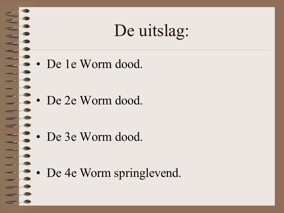 De Wormen werden als volgt uitgezet: De 1e Worm kwam in een glas met Alkohol. De 2e Worm kwam in een glas met sigarettenpeuken. De 3e Worm kwam in een