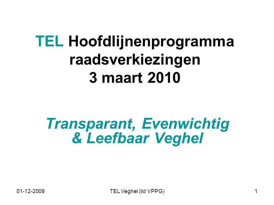 01-12-2009TEL Veghel (lid VPPG)1 TEL Hoofdlijnenprogramma raadsverkiezingen 3 maart 2010 Transparant, Evenwichtig & Leefbaar Veghel