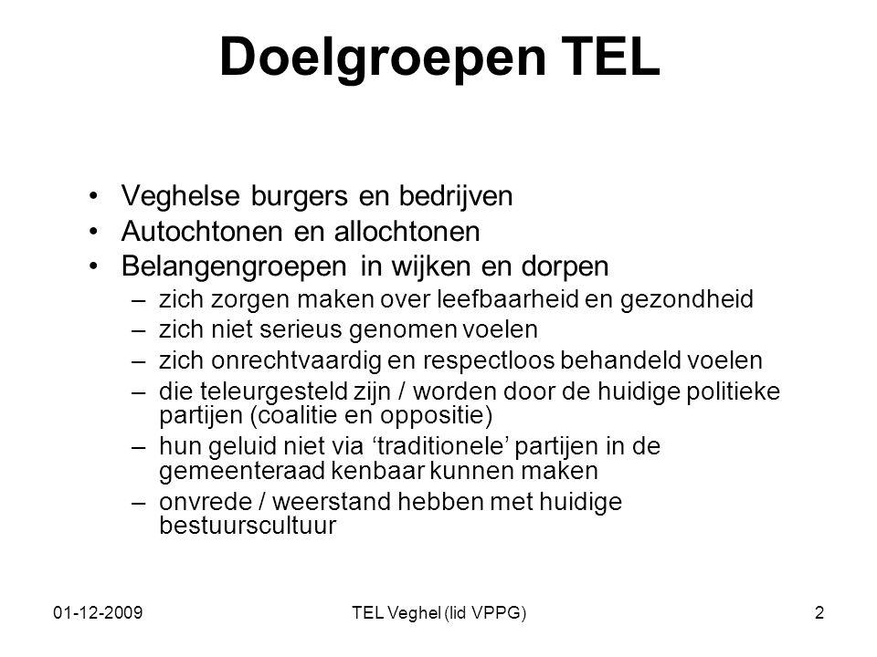 01-12-2009TEL Veghel (lid VPPG)2 Doelgroepen TEL Veghelse burgers en bedrijven Autochtonen en allochtonen Belangengroepen in wijken en dorpen –zich zo