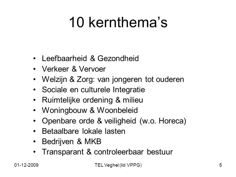 01-12-2009TEL Veghel (lid VPPG)5 10 kernthema's Leefbaarheid & Gezondheid Verkeer & Vervoer Welzijn & Zorg: van jongeren tot ouderen Sociale en cultur