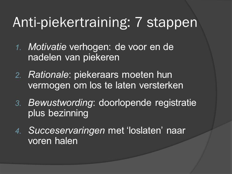 Anti-piekertraining: 7 stappen 1. Motivatie verhogen: de voor en de nadelen van piekeren 2. Rationale: piekeraars moeten hun vermogen om los te laten